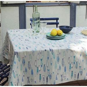 Nappe Table Ovale : nappe enduite poissons oc an fleur de soleil ~ Teatrodelosmanantiales.com Idées de Décoration
