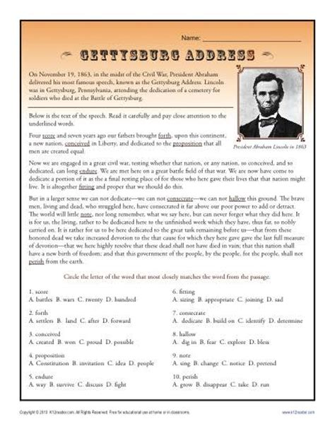 gettysburg address context clues worksheets for high school