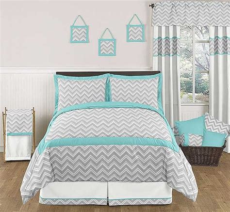 Turquoise Chevron Bedding zig zag turquoise gray chevron print bedding set 3