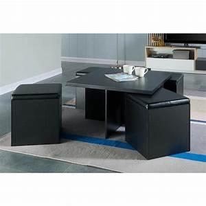 Table Basse 4 Poufs : table basse avec 4 poufs noir le bois chez vous ~ Teatrodelosmanantiales.com Idées de Décoration
