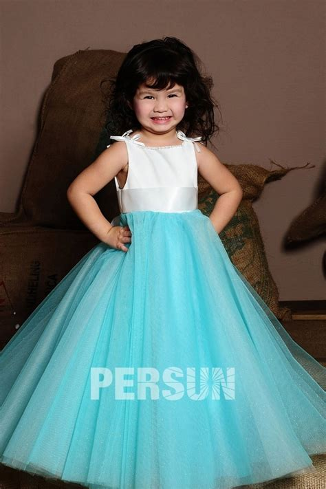 robe blanche enfant robe mariage enfant blanche et bleu en tulle persun fr