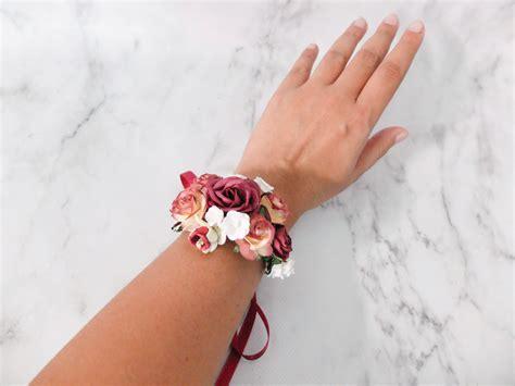 burgundy wedding flower wrist corsage floral bracelet