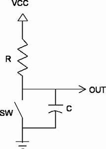 debouncing With the basic series rc circuit is shown schematically below