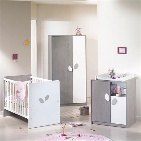 bebe chambre chambre bébé trio leaf gris blanc 3 éléments de sauthon