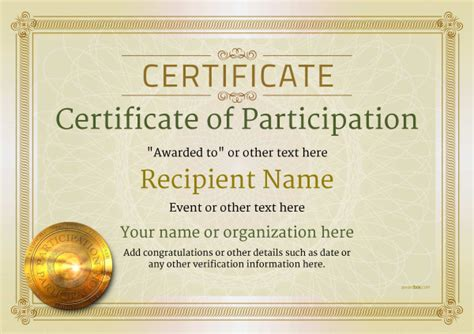 certificate of participation template participation certificate templates free printable add badges medals