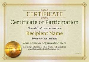 Certificate Of Participation Template Free Participation Certificate Templates Free Printable Add Badges Medals