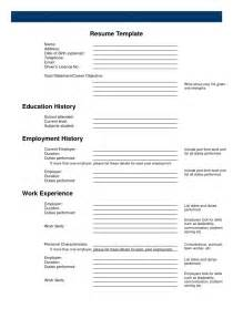 Printable Resume Blank Form by Pin Free Blank Resume Form On
