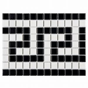 Merola Tile Metro Greek Key Matte White and Black Border 8 ...