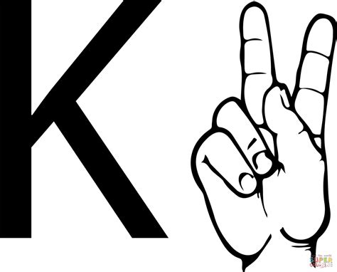 color k asl sign language letter k coloring page free printable
