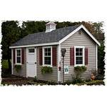 Shutters Tan Shed Maroon Trim Sheds Exterior