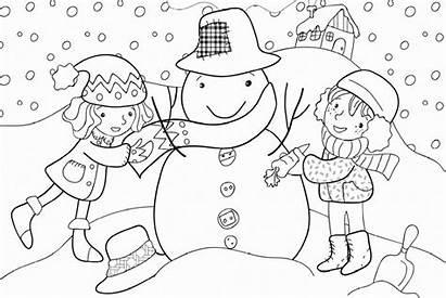 Winter Coloring Pages Season Preschool Kindergarten Worksheets