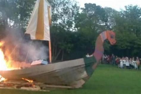 Viking Longboat Burning by Brockholes Ce School Recreate A True Viking Saga By