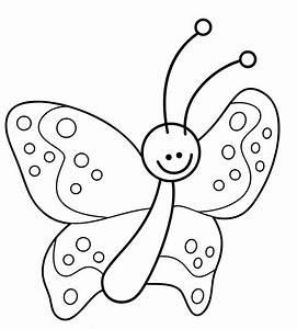Ausmalbild, Natur, Lustiger, Kleiner, Schmetterling, Kostenlos