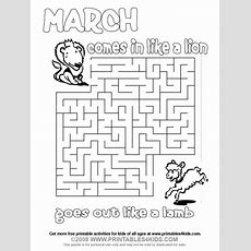March Lion And Lamb Maze  Printables For Kids  Free Word Search Puzzles, Coloring Pages, And
