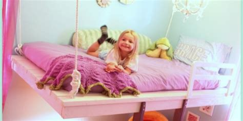 remodelaholic diy hanging loft bed   girls bedroom