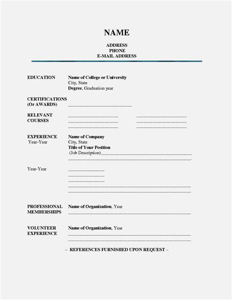 Free Printable Resume by Fill In Blank Printable Resume Resume Template Cover
