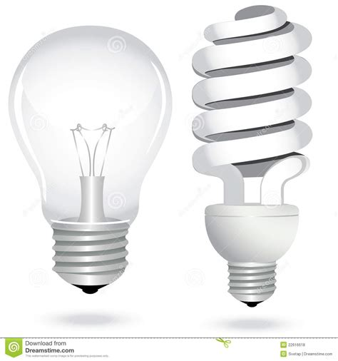 efficient light bulbs set energy saving light bulb l electricity stock vector
