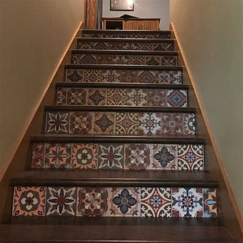 Peel And Stick Tile Decals by Peel And Stick Stair Risers Vinyl By Snazzydecal Tile