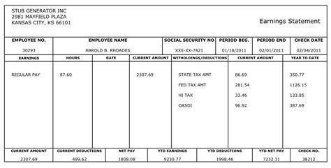 Free Pay Stub Template With Calculator Free Printable Pay Stub Template With Calculator All