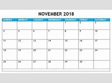November 2018 Calendar Printable with Holidays, Word