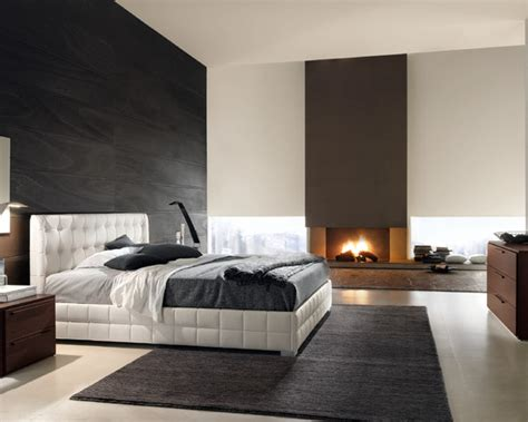 chambre a coucher de luxe modern luxury bedroom black white fireplace