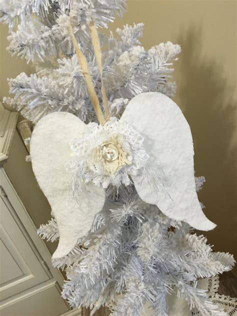 shabby fabrics ornament fabric angel wings set of 3 ornaments shabby vintage style cottage chic angel wings