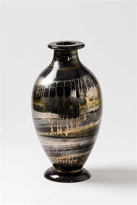Gold And Silver Vase by Ceramic Vase With Black Gold And Silver Glazes By Lucien