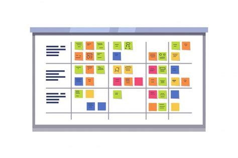 White Scrum Board Full Of Tasks On Sticky Cards Vector