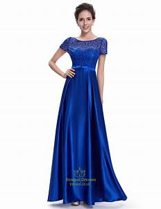 royal blue short sleeve long bridesmaid dresses with lace With royal blue short wedding dresses