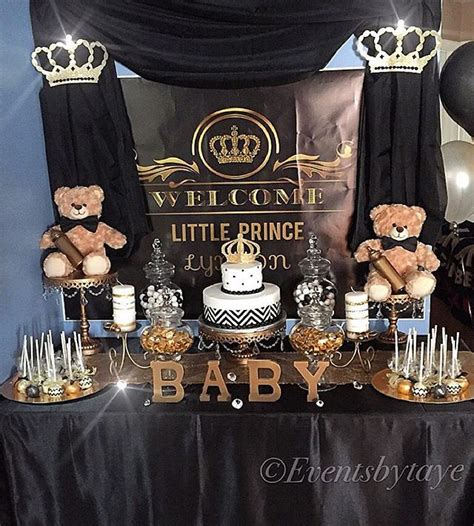 Black And Gold Baby Shower by Royal Prince Themed Babyshower Glamtable Desserttable