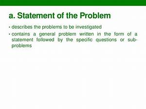 Statement of the problem meaning in thesis