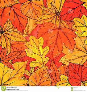 Autumn Background With Hand Drawn Golden Leaves Stock ...