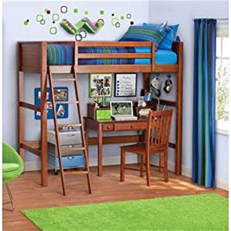 amazon loft bed with desk amazon com twin wood loft style bunk bed walnut color