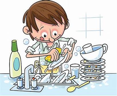 Dishes Washes Washing Vector Illustration Illustrations Cartoon