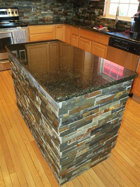Custom Kitchen Island Ideas - finished kitchen island after granite and slate tile installation