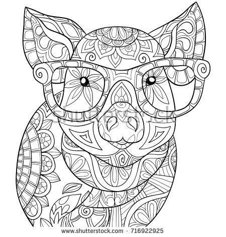Adult coloring page book a pig Zen style art illustration
