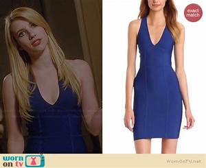 WornOnTV: Madison's blue v-neck dress on American Horror ...