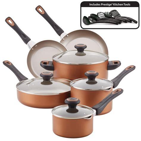 farberware dishwasher safe high performance nonstick  piece cookware set copper walmartcom