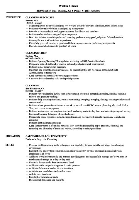 Sle Cleaner Resume by Cleaning Resume