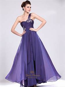 Purple One Shoulder Prom Dress With Ruched Bodice And ...