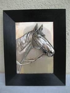 Wandbild Metall 3d : relief wandbild metall pferdekopf 3d effekt bild schwarzer holz rahmen pferdekopf ~ Watch28wear.com Haus und Dekorationen