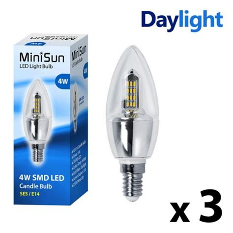 buy pack of 3 minisun ses 4w 36 smd led candle bulbs 6000k