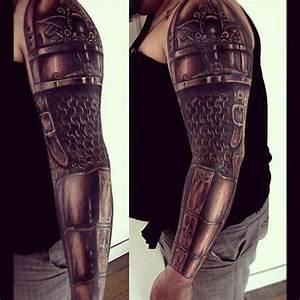 Full Arm Celtic Warrior Armor Tattoo Design | Tattooshunt.com