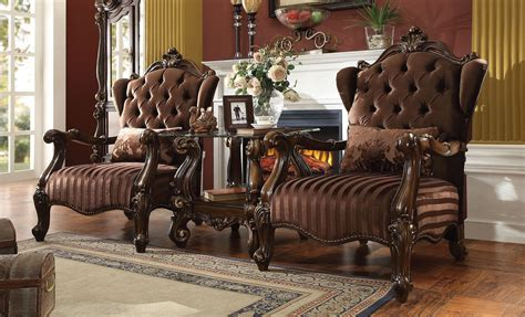 3 Piece Acme Versailles Accent Chair Brown Velvet