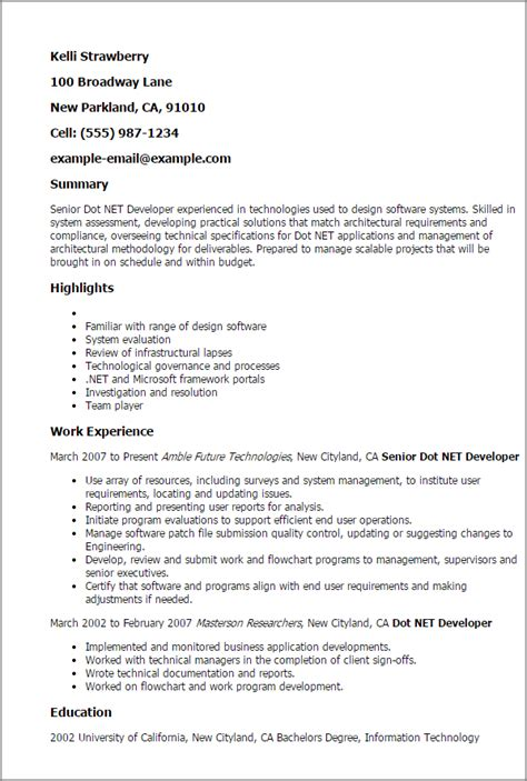 Asp Net Resume For Experienced by Professional Senior Dot Net Developer Templates To Showcase Your Talent Myperfectresume