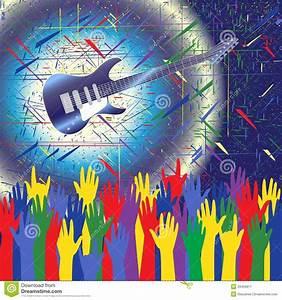Rock concert background stock vector. Image of hands ...