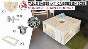 Salon Complet Ikea : le fameuse table basse x4 caisses en bois par simply a box youtube ~ Dallasstarsshop.com Idées de Décoration