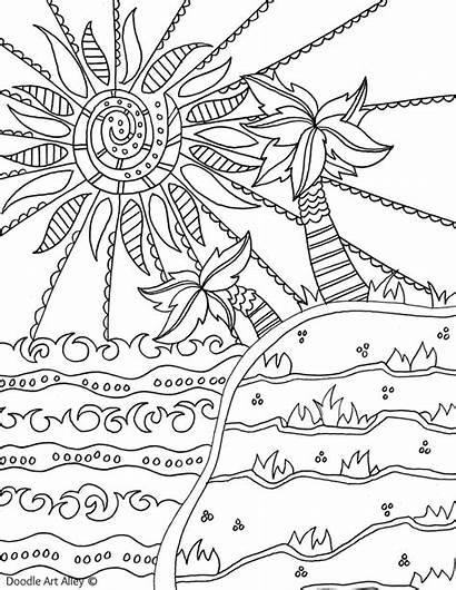 Coloring Pages Beach Summer Doodle Summertime Alley