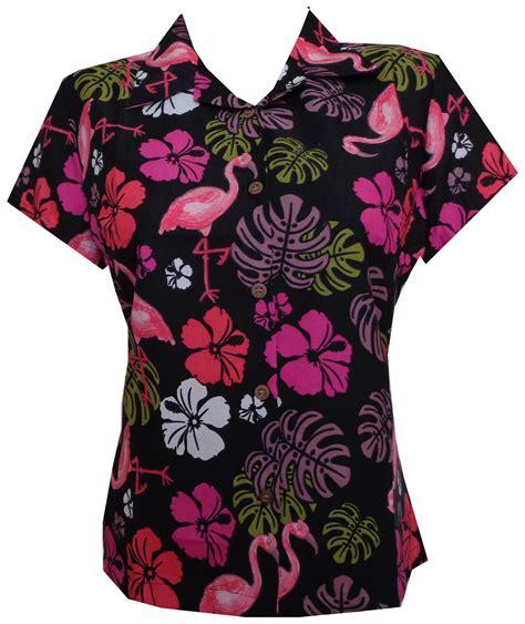 hawaiian print blouses hawaiian shirt flamingo leaf print aloha