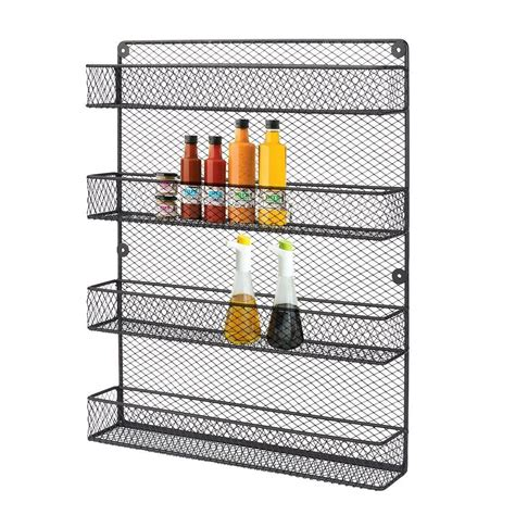 wire kitchen rack storage kitchen wall mounted 4 tier black spice rack holder metal 1557